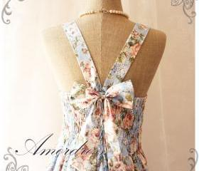 Floral Summer Dress Sweetest Spell Vintage Inspired Open Back Dress Blue Floral Charm Dress Party Prom Wedding Dress -Size S-