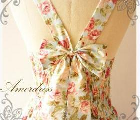 Floral Summer Dress Sweetest Spell Vintage Inspired Open Back Dress Pale Pink Rose Powder Blue Dress Party Prom Wedding Dress -Size S-