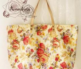 Floral Tote Bag Printed Canvas Bag Genuine Leather Strap Cream Tangerine Floral Garden Shabby Chic Bag ...Amor The Inspired Collection...