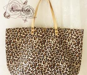 Leopard Tote Bag Printed Canvas Bag Genuine Leather Strap Retro Bag ...Amor The Inspired Collection...