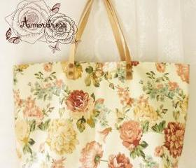 Floral Tote Bag Printed Canvas Bag Genuine Leather Strap Cream with Autumn Rose Shabby Chic Bag ...Amor The Inspired Collection...