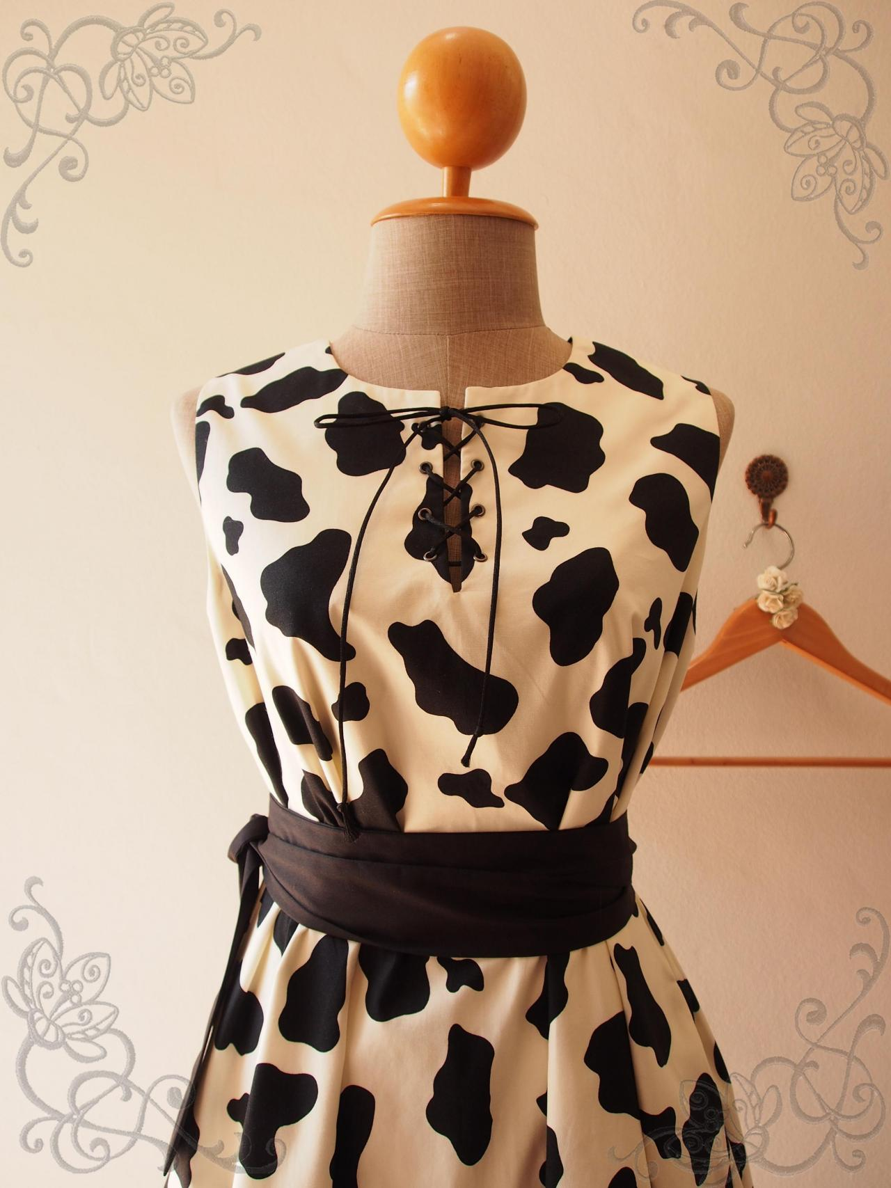 MOO Dress, Cow Print Dress, Summer Dress, Sundress, Pocket Dress, Vintage Style Dress, Maternity Dress, Sash Dress, Country Western Look, Tent Shape Dress, Tea Party Dress,Tie Sash - ONE FINE DAY - XS-XL