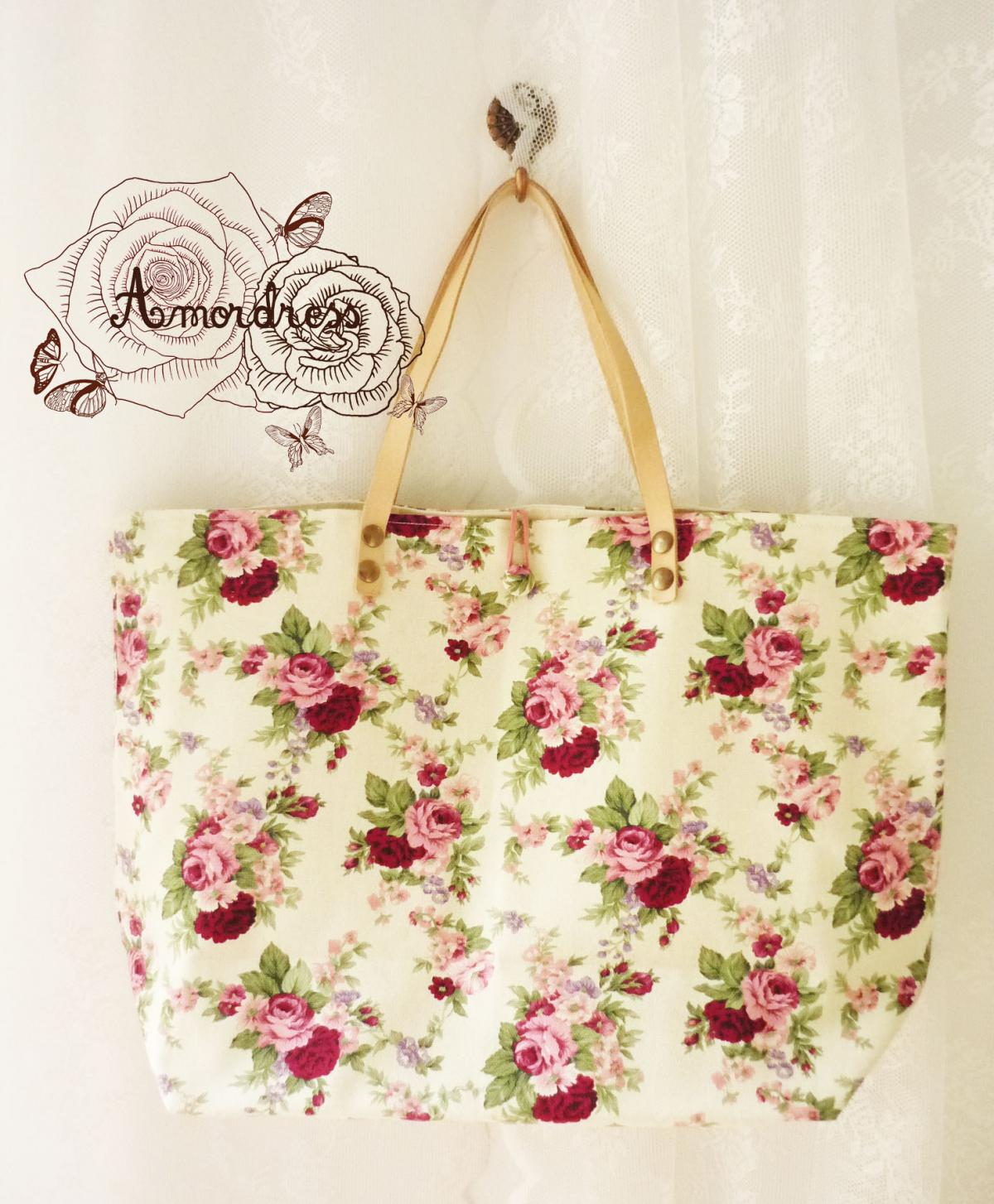 Floral Tote Bag Printed Canvas Bag Genuine Leather Strap Cream ...