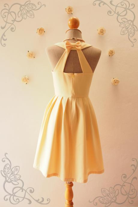 LOVE POTION - Yellow Bridesmaid Dress, Backless Dress,Pale Yellow Dress,Yellow Graduation dress, Yellow sundress,Summer Dress, Skater Dress, Midi Dress, Vintage Sundress, Vintage Inspired Dress, - DOWNTOWN - XS-XL, Custom