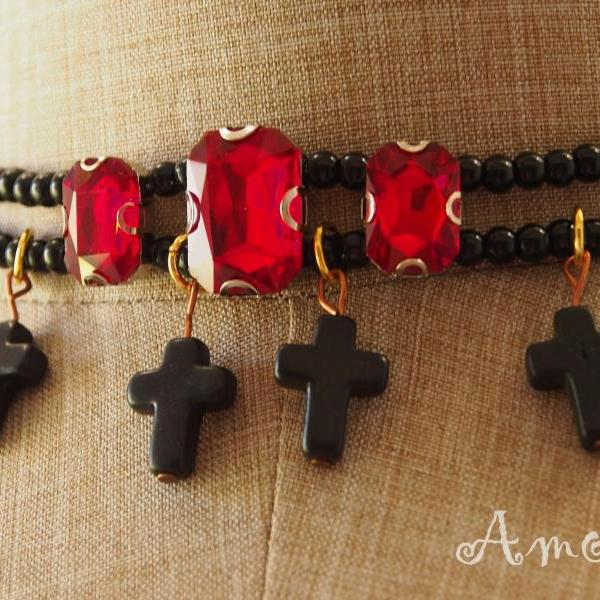 Choker Necklace, Cross Choker Necklace, Red Crystal Necklace