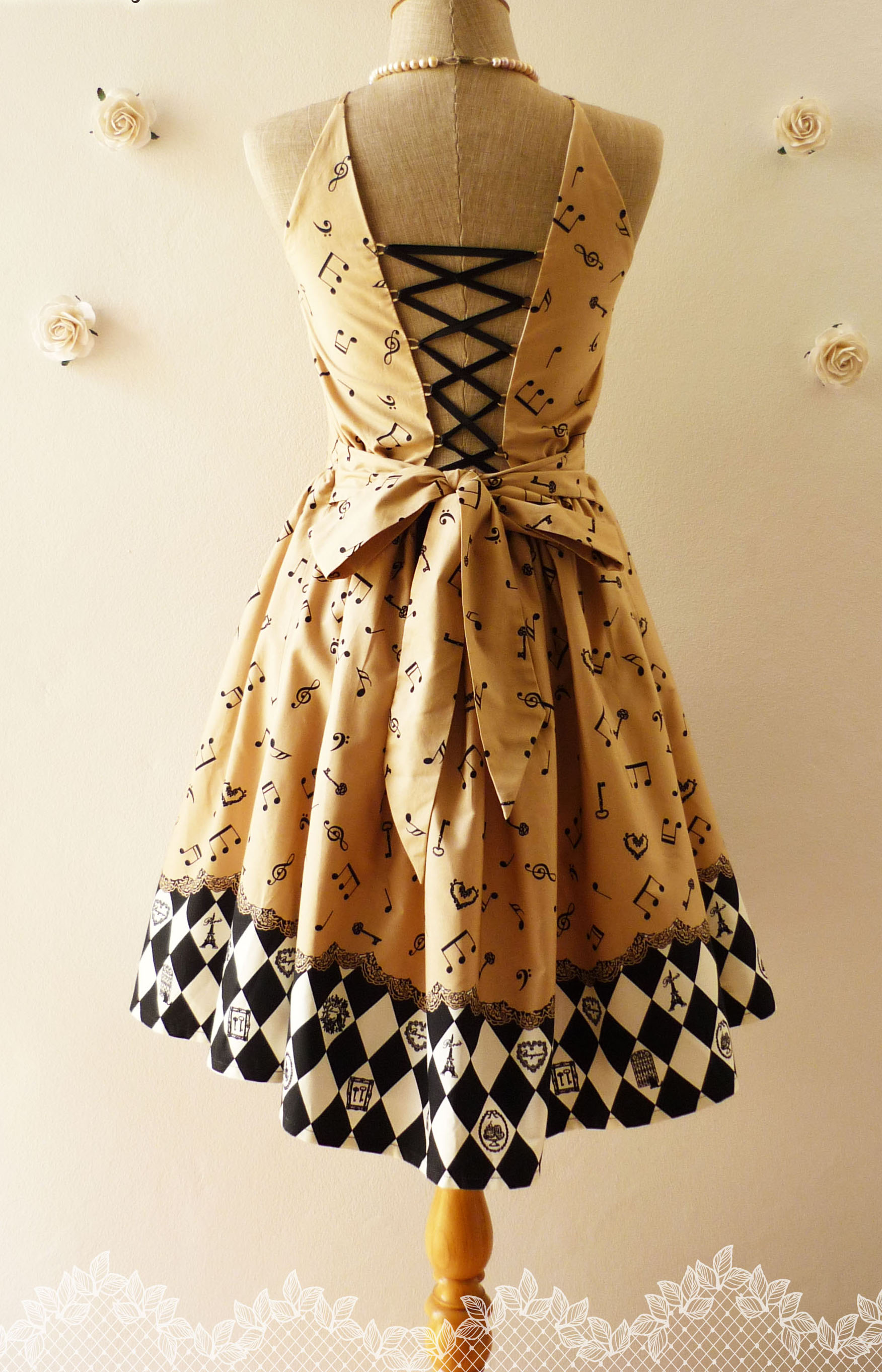 Music Collection Vintage Inspired Dress In Beige Brown Back Corset ...