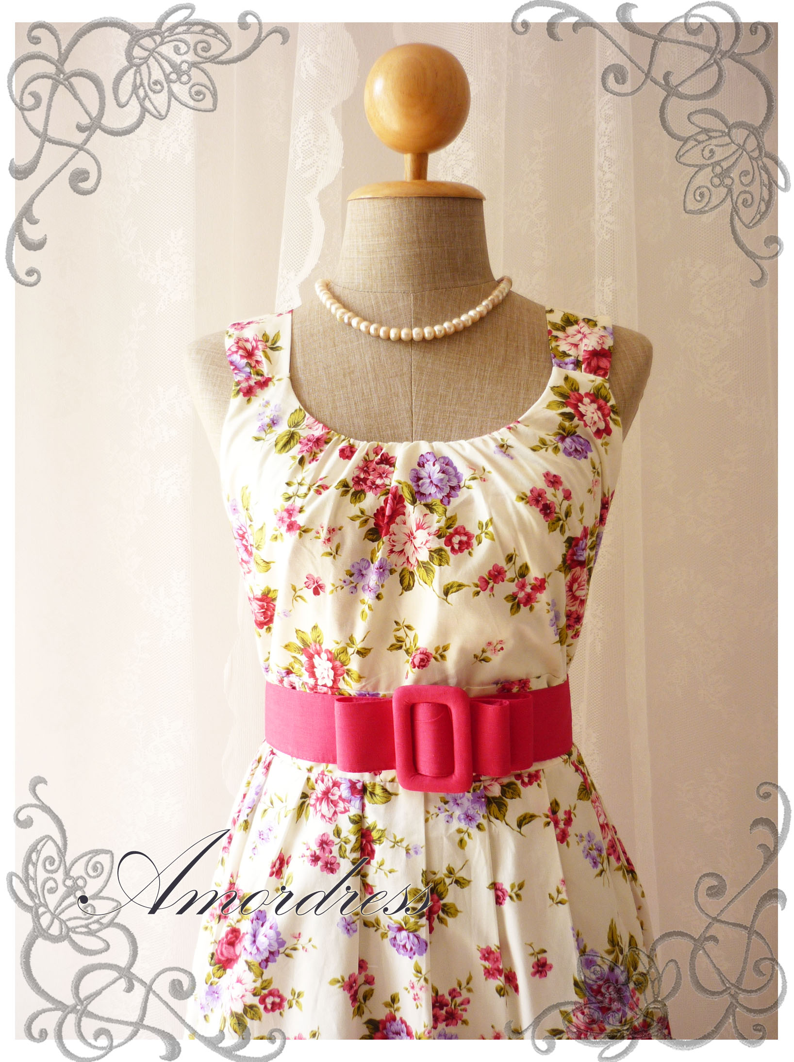 Blooming - Exotic Floral Dress White Dress With Pink Purple Floral ...